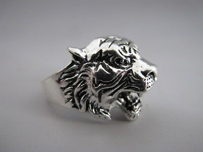 China old Tibetan silver hand made Chinese Zodiac tiger statue finger ring RN011