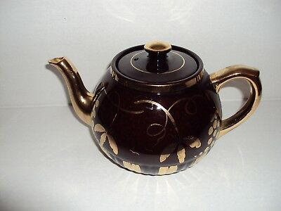 English Black And Gold Teapot