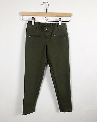 Hanna Andersson Girl's 130 Green Zipper Pant Stretch Elastic