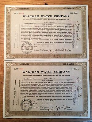 Waltham Watch Company 1950's CONSECUTIVE PAIR Stock Certificates -
