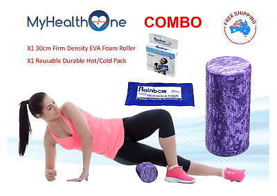 Purple 30cm Foam roller with FREE Hot/Coldpack! Firm Density for best results.