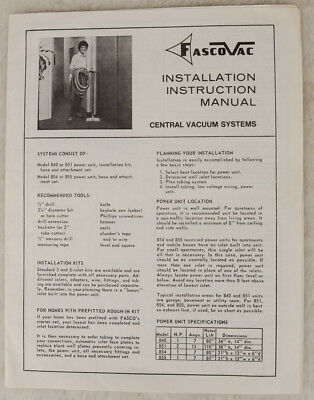 FascoVac Installation Instruction Manual from 1973