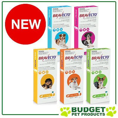 Bravecto Spot On Tick & Flea For Dogs 6 Months Protection - All Sizes