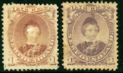 Canada 1880 Newfoundland 1 Cent Violet Brown Shades Scott #32 & 32A Mint Z804