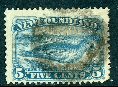 Canada 1880 Newfoundland 5 Cent Pale Blue Seal Scott #53 VFU D386