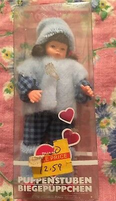 DOLLHOUSE MINIATURE CACO GERMAN DOLL GIRL CHILD CLOTH BODY Bendable Mint In Box