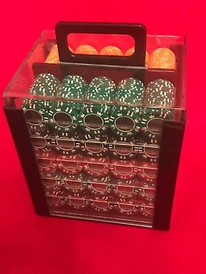1000 Coin Inlay 15 Gram Clay Poker Chips Acrylic Carrier Case