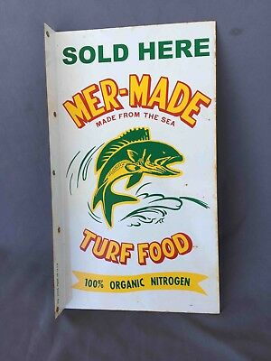 Old Mer-Made Turf Food Fertilizer 2 Sided SOLD HERE Advertising Flange Sign