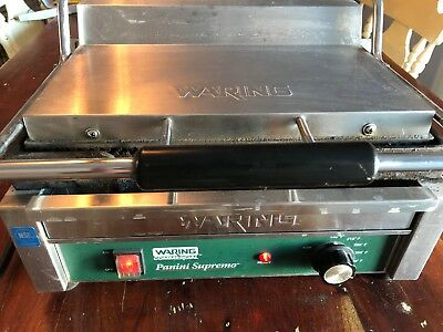 WPG280 Waring Commercial Panini Press Grill 14.5 X 11 Grooved works great 120v