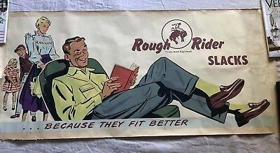 Vintage 1950s Rough Rider Slacks Pants Poster Sign Advertisement Banner 47""