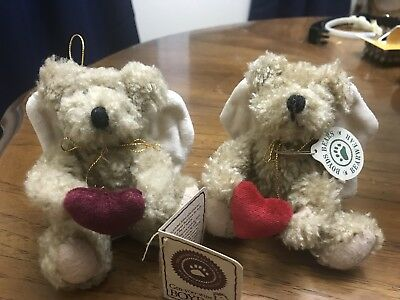 **Two** Boyds Bears Ornaments Angel Wings and Hearts