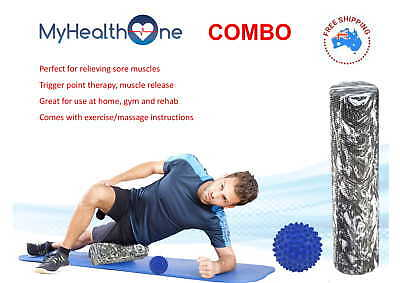 Foam Roller + Massage Ball - 60cm FirmEVA Foam Roller + Firm Spikey Massage Ball