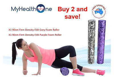 x2 90cm Firm Density Foam Rollers Grey and Purple - MyHealthOne Physio Grade