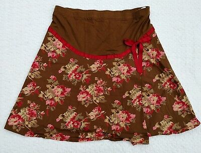 Motherhood Maternity Skirt Brown And Red Floral Mini Skirt Belly Stretch Size L