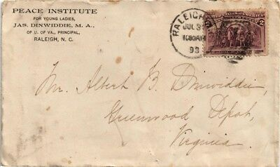 Dr Jim Stamps Us Cover 1893 Peace Institute Raleigh Franked Scott 231