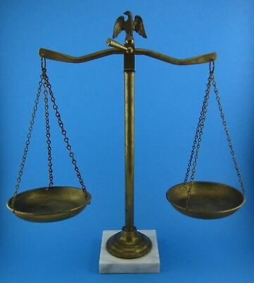 VINTAGE BALANCE SCALE Of JUSTICE METAL & MARBLE EAGLE LAWYER DECOR Buffalo Italy