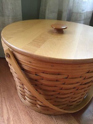 1994 Longaberger Sewing Basket With Tiered Protector
