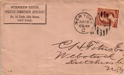 Dr Jim Stamps Us Cover Commercial Produce Merchant New York 1884