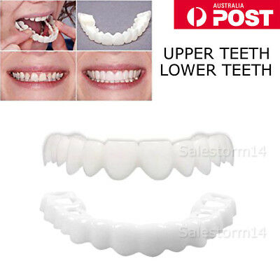 Snap On Teeth Cosmetic Smile Instant Natural Upper Lower Veneer Dental False AU