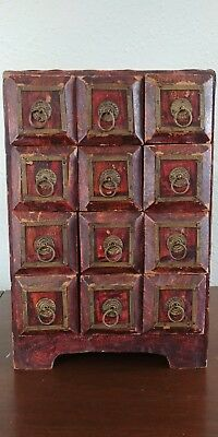 Vintage Wood Apothecary Chest Cabinet 12 Drawer