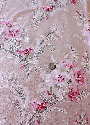"Antique Genuine French Art Nouveau H.F. Botanical Floral Fabric c1900~21""LX33""W"