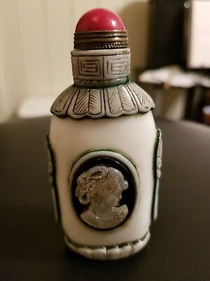 Antique snuff Bottle hand carved white agate red marble top in tacked estate