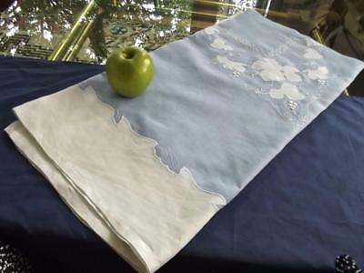 Vintage Sky Blue Organdy & White Linen Tablecloth FAB Hand Embroidered Grapevine