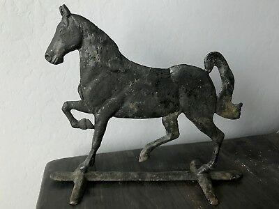 Beautiful Vintage Cast Iron Prancing Horse Door Stop ~ Early 1900's
