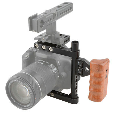 US CAMVATE DSLR Video Camera Cage Stabilizer Rig with Wooden Handle Left Side