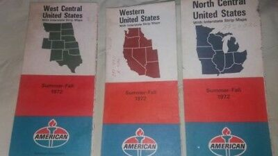 Lot Of 3 American    Road Maps Western,north Central, West Central  1972