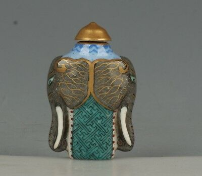 Chinese Exquisite Handmade elephants porcelain Snuff Bottle