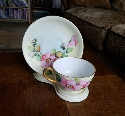 Antique Hand Painted Pirkenhammer Cup & Saucer Set Early 1900's