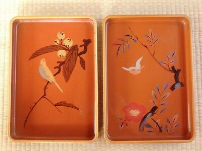Wooden Tray / Lot of 2 / Sparrow design / Lacquerware / Japanese Vintage / h30