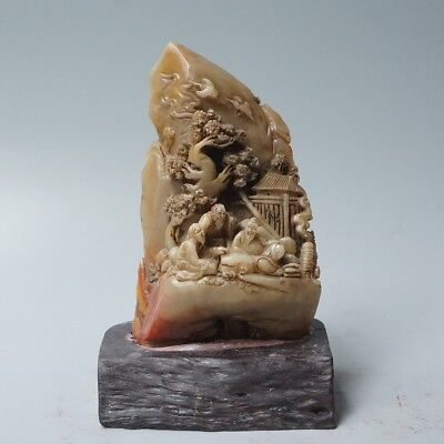 Chinese Exquisite Hand-carved character landscape carving Shoushan Stone seal