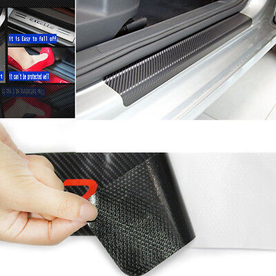 Black 4Pc Carbon Fiber Look Car Door Plate Sill Scuff Cover Anti Scratch Sticker