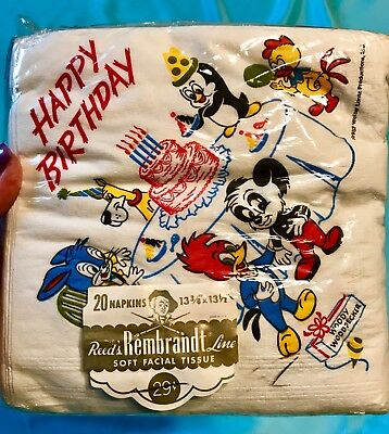 Vintage Package Of 1957 Walter Lantz Productions Birthday Napkins ! Never Opened