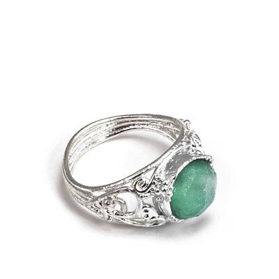Ancient Roman Glass Ring Round with Bead and Scroll Openwork Sterling Silver