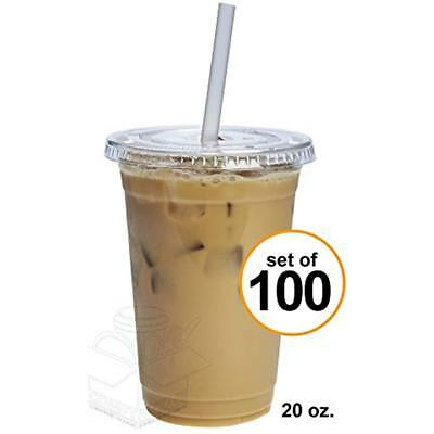 100 Sets 20 Oz. Plastic CRYSTAL CLEAR Cups With Flat Lids For Cold Drinks, Iced
