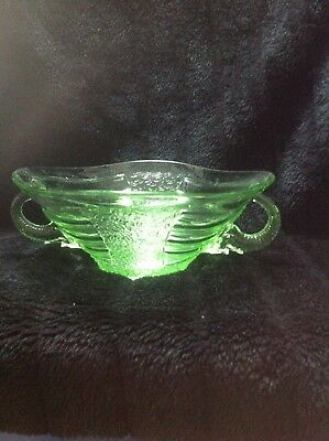 Sowerby Art Deco Green Glass Bowl With Elephant Handles Large