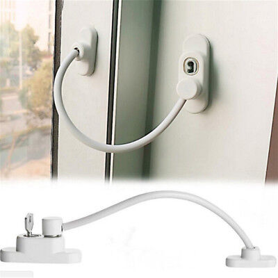 Lockable Window Security Cable Lock Door Restrictor Child Safety Stainless Key X