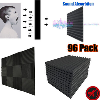 "96 Pack Acoustic Panels Studio Soundproofing Foam Wedge Wall Tiles 1""x12""x12"""