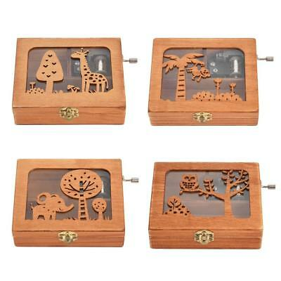 Music Box Forest Animal Engraved Wooden Music Box Craft Birthday Gift Kids Toys