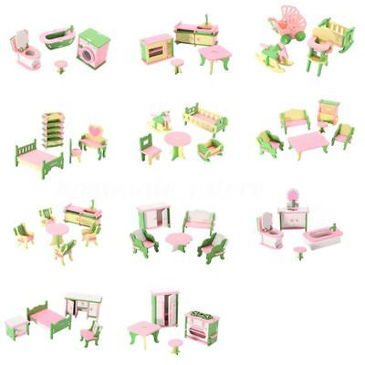 49Pcs 11 Sets Baby Wooden Furniture Dolls House Miniature Child Play Toys G M2R5