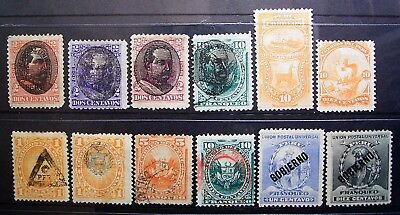 Peru - Old Interesting Lot, 12 Used & Unused Stamps, Overprinted View Carefully