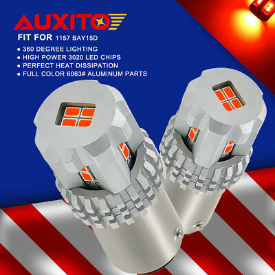 AUXITO 2x 50W 1157 BAY15D Super Red Tail Rear Stop Brake Light Lamp LED Bulbs