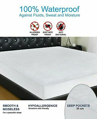 100% Waterproof Mattress Protector Terry Towel Fitted Bed Cover Double Cot Bed