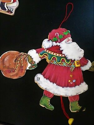 Mary Engelbreit  SANTA Wood Dancing Jumping Puppet Toy Ornament 8""