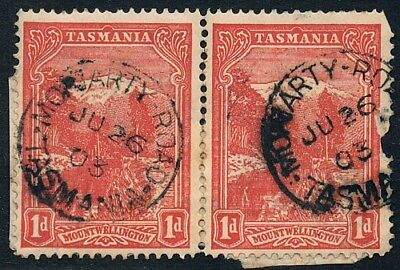 TASMANIA • 2 x CDS Postmarks on pair of 1d Pictorials • MORIARTY ROAD