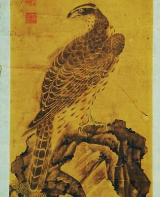 """JAPANESE HANGING SCROLL: Antique """"Hawk"""" by  Soko Gesshu,1600's, Unique Painting"""