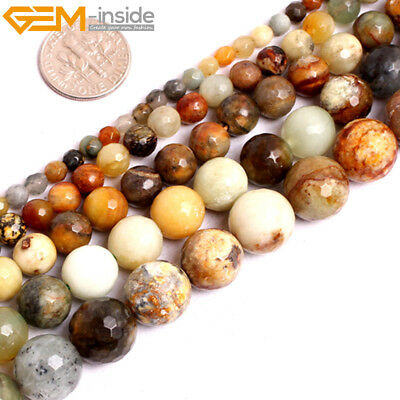 """Natural Multi Nephrite Huashow Jade Faceted Round Beads For Jewellery Making 15"""""""